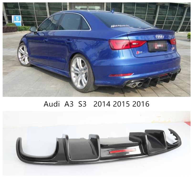 For <font><b>Audi</b></font> <font><b>A3</b></font> S3 2014 2015 <font><b>2016</b></font> Carbon Fiber <font><b>Rear</b></font> Lip Spoiler Bumper <font><b>Diffuser</b></font> Car Accessories image