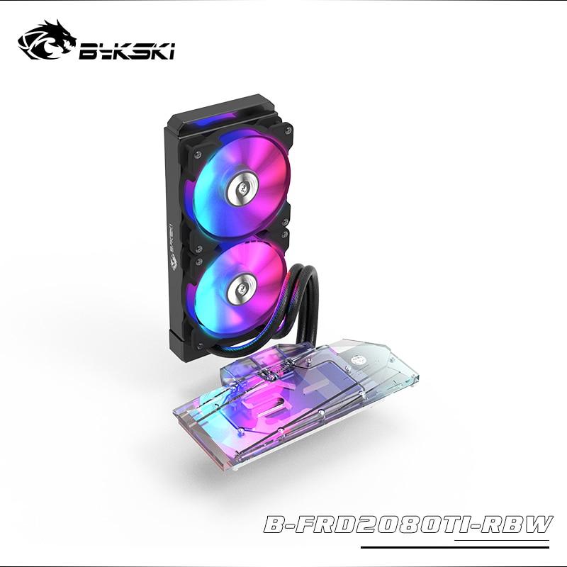 BYKSKI GPU Water Block For NVIDIA GeForce RTX 2080Ti/2080 Founders Edition With 240mm Radiator / PUMP / 2pcs Fan A-RGB LED Light