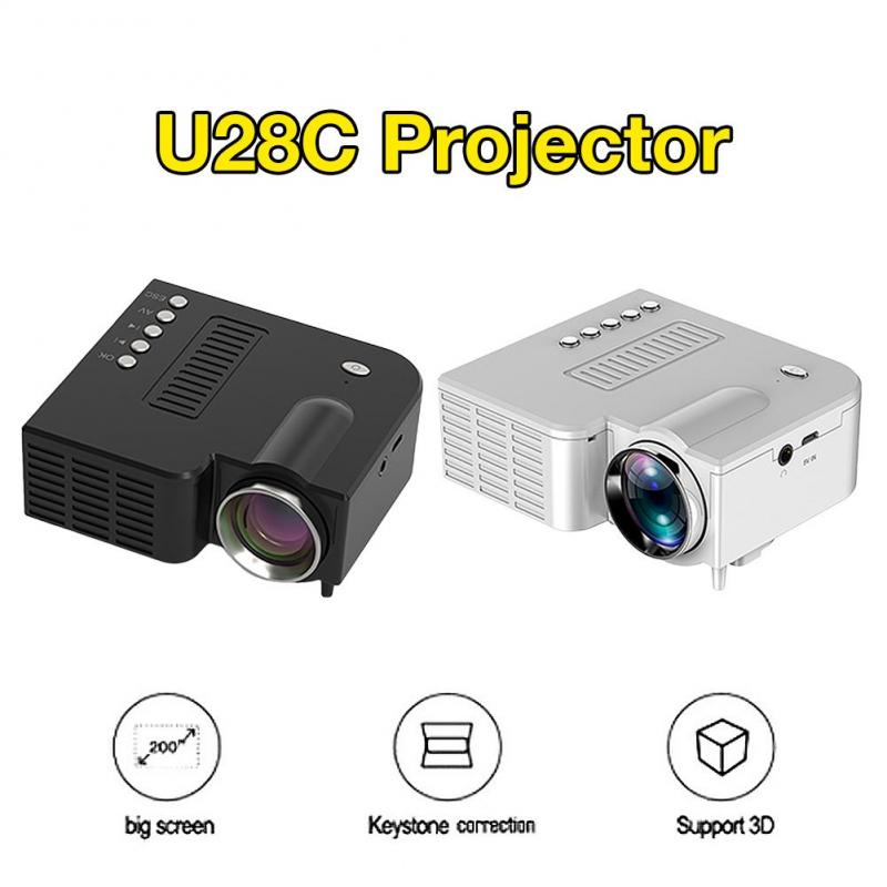 UC28C 16.7M  LED Mini Projector Video Beamer For Home Cinema Office Theate Support HD Wireless Sync Display For Smart Phones
