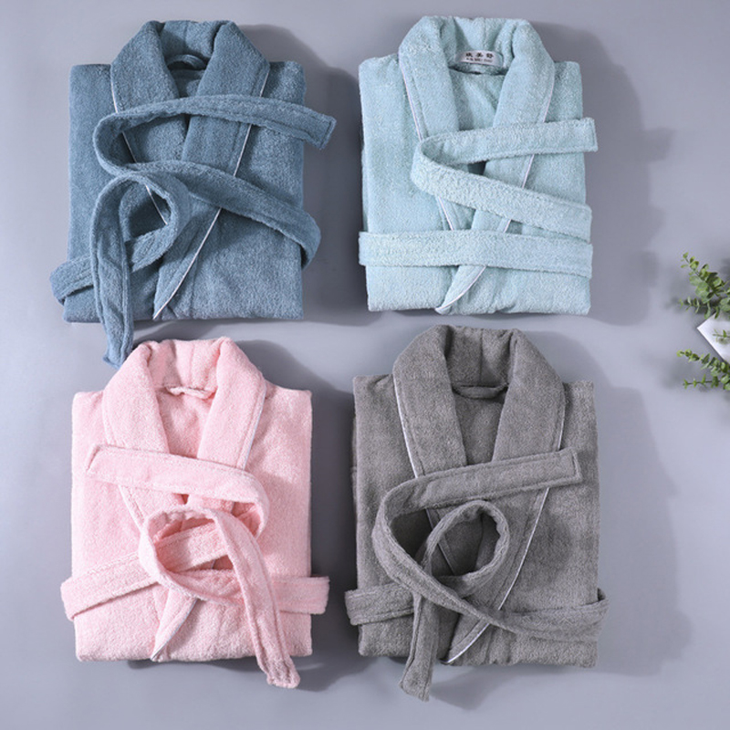 Solid Hotel Robe Cotton Robes Toweling Terry Robe Lovers Men And Women Robe Bathrobe Soft Sleeprobe Female Casual Homewear