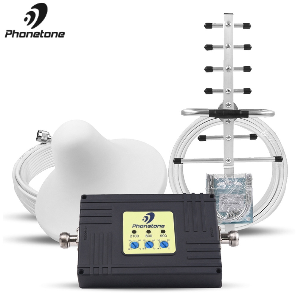 800/900/2100MHz Tri-Band Cellular Signal Booster 2G 3G 4G GSM Repeater 4G LTE Amplifier 70dB Mobile Phone Network Booster Set %