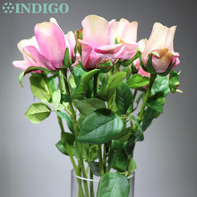 INDIGO- 9 PCS Light Pink Rose Bud Artificial Flower Wedding Real Touch Home Decorative Hotel Coffee Shop Free Shipping