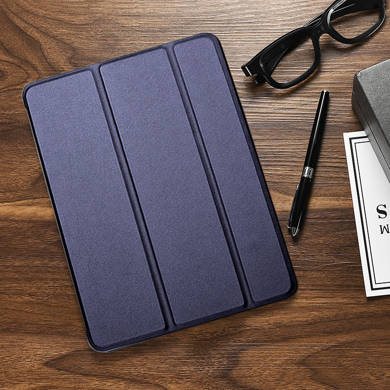Navy Blue White Case For iPad Air 10 9 2020 Flip Trifold Stand PU Leather Full Smart Auto Wake