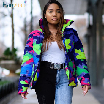HAOYUAN S-4XL Plus Size Camouflage Winter Coat Women New Clothing Down Warm Thick Bubble Parka Outerwear Oversized Puffer Jacket