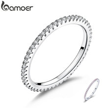 BAMOER Classic 925 Sterling Silver High Quality Circle Clear CZ Geometric Stackable Rings for Women Wedding Jewelry Gift SCR066