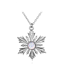 Movie Jewelry Once Upon A Time Girl White Snowflake Necklace Pendant Dress Up Chain Elsa Anna XMAS Gift