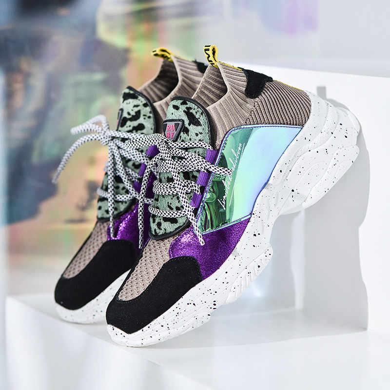 PINSEN 2020 sonbahar ayakkabı kadın yüksek kaliteli Platform Flats ayakkabı kadın dantel-up rahat bayanlar tıknaz ayakkabı zapatillas mujer