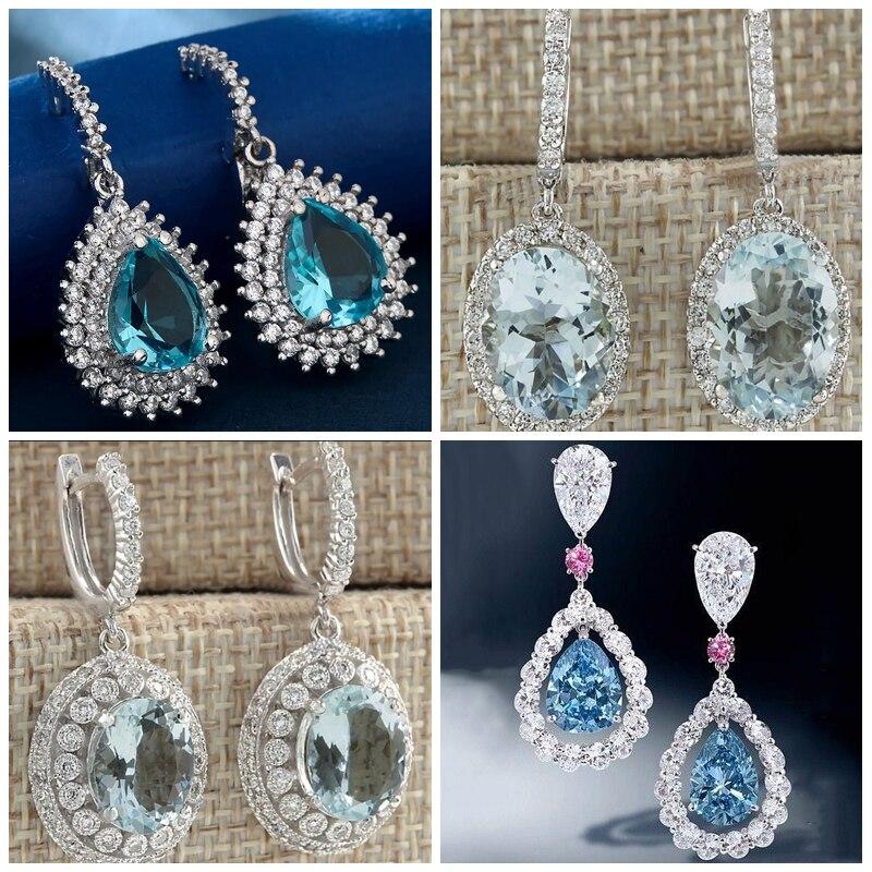 Pendientes de piedra circón azul cielo redondo grande de Color plata de moda joyería de boda pendientes largos de gota Brincos regalos para mujer Z3K569