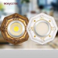 Lámpara Led de resina octagonal americana, luz descendente de Metal, 3W, 5W, 7W, para decoración de techo, agujero de 6-9Cm, para cocina, sala de estar