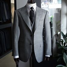 Jacket Pants Blazer Business-Suits Office Plaid Wedding Men's Vest Slim-Fit Wool Party