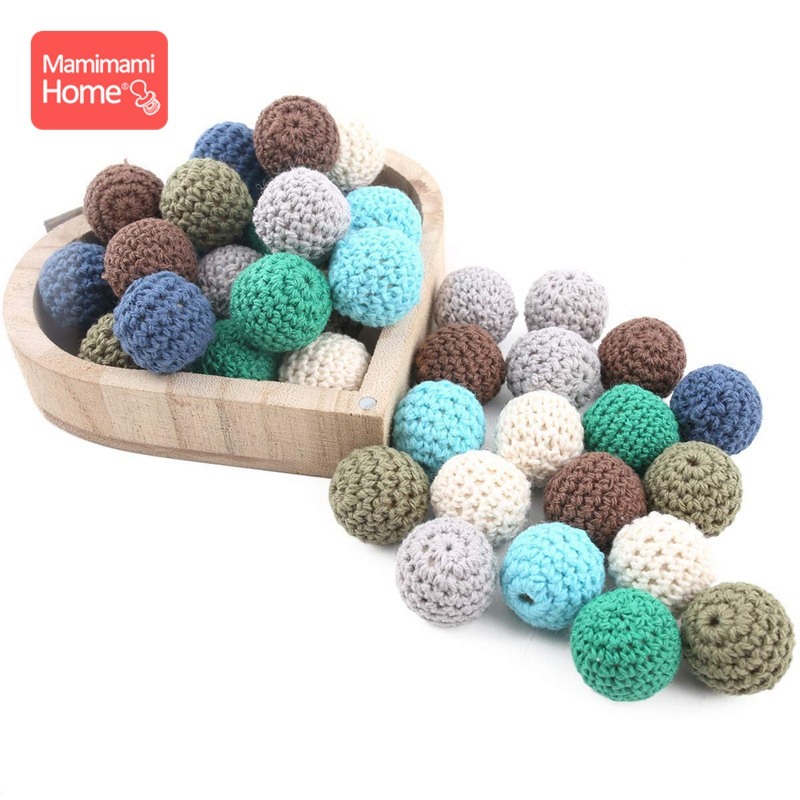 10pc 16mm Crochet Beads Baby Wood Teether New Born Toy Making Jewelry Nursing Necklace Bead Wooden Rodent Blank Children'S Goods