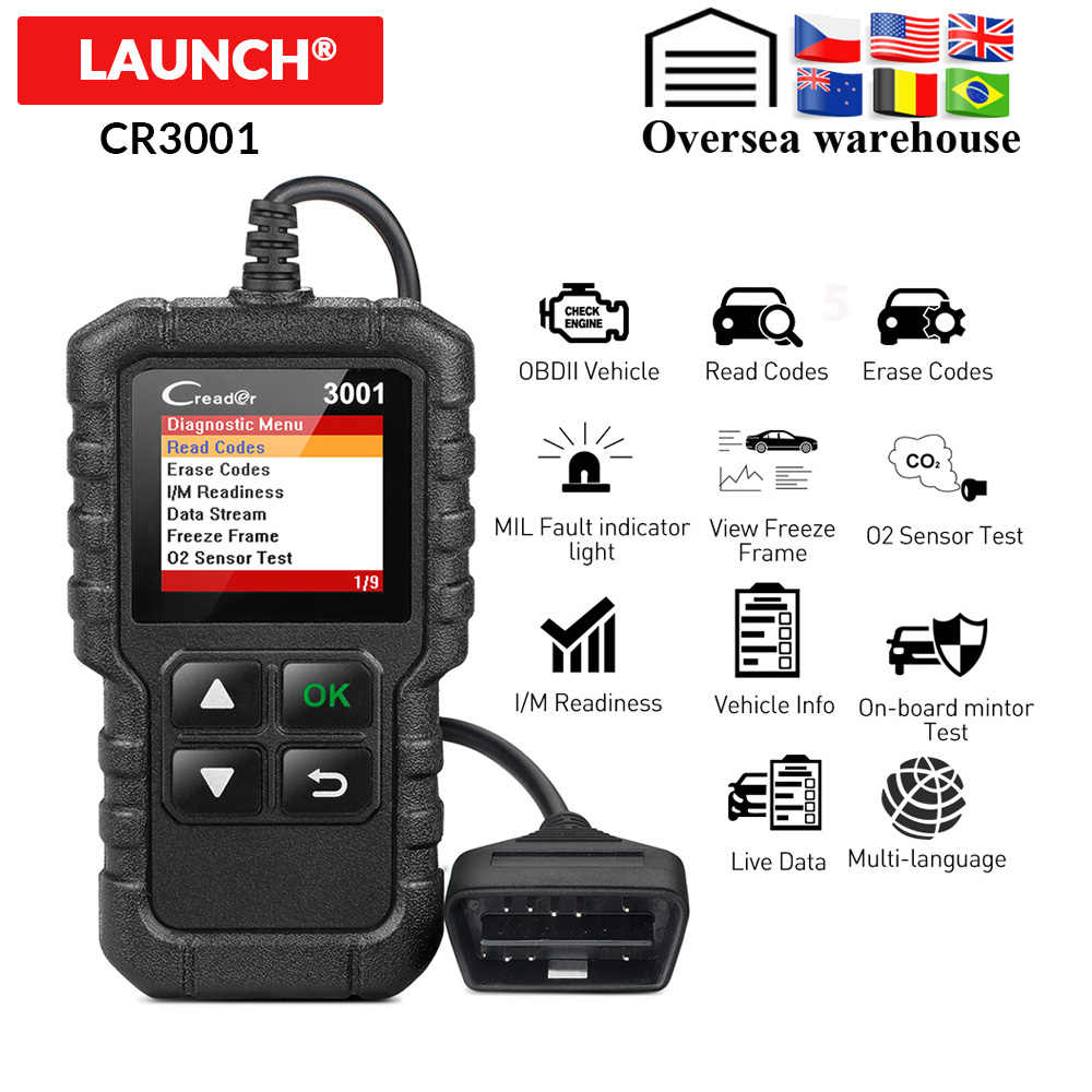 LAUNCH X431 CR3001 Volledige OBD2 Scanner OBD 2 Engine Code Reader Creader 3001 Auto Diagnostic tool PK CR319 AD310 ELM327 scan tool
