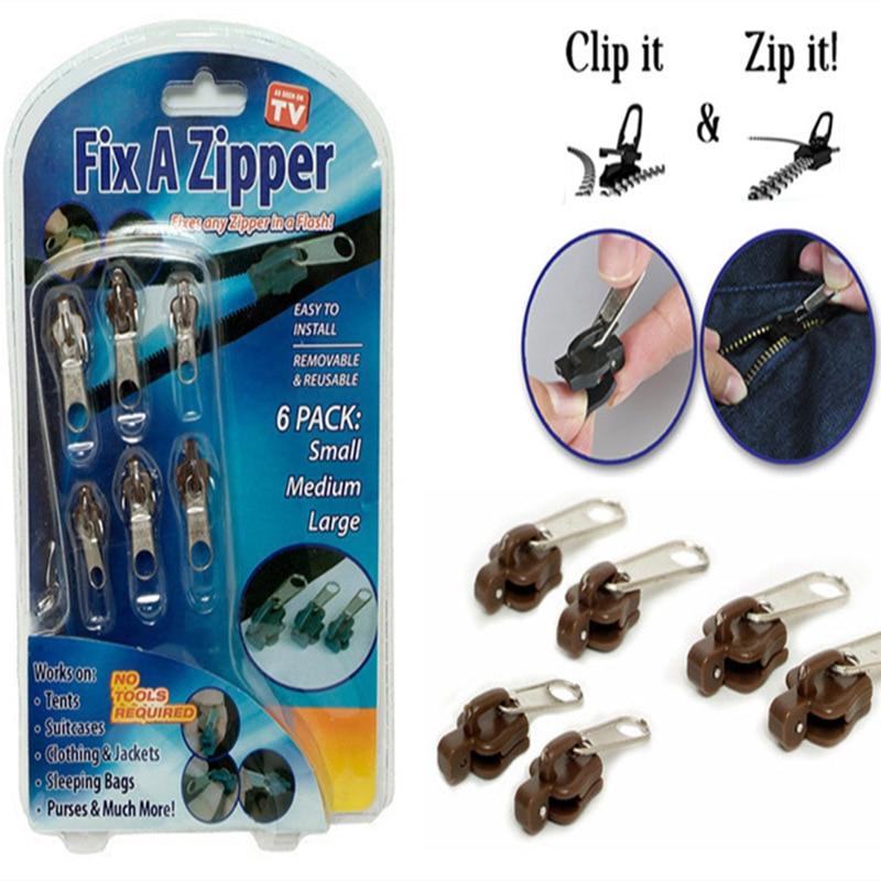 6pcs/lot Universal multifunction zipper  Fix A Zipper 6 pack Zip Rescue Instant Repair Kit Replacement clothing accessories