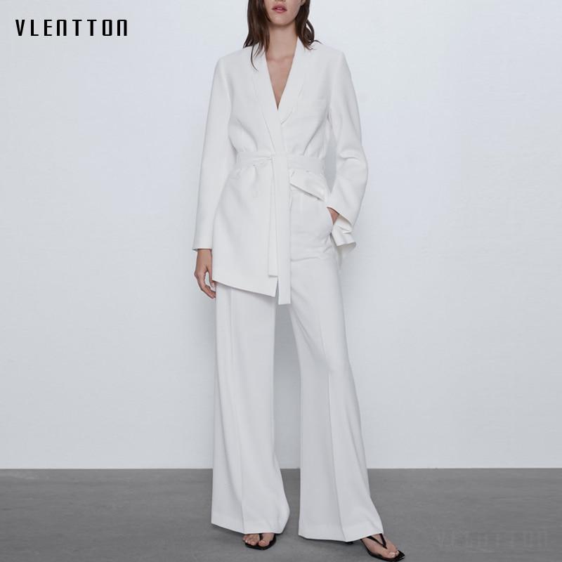 Spring Autumn White Sexy V-Neck 2 Pieces Set Women Sashes Office Blazer Jacket Coat+Zipper Wide Leg Pants Suit Female Trousers