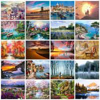 HUACAN Picture By Numbers City Scenery Kits Drawing On Canvas HandPainted Painting Art Gift DIY Home Decoration