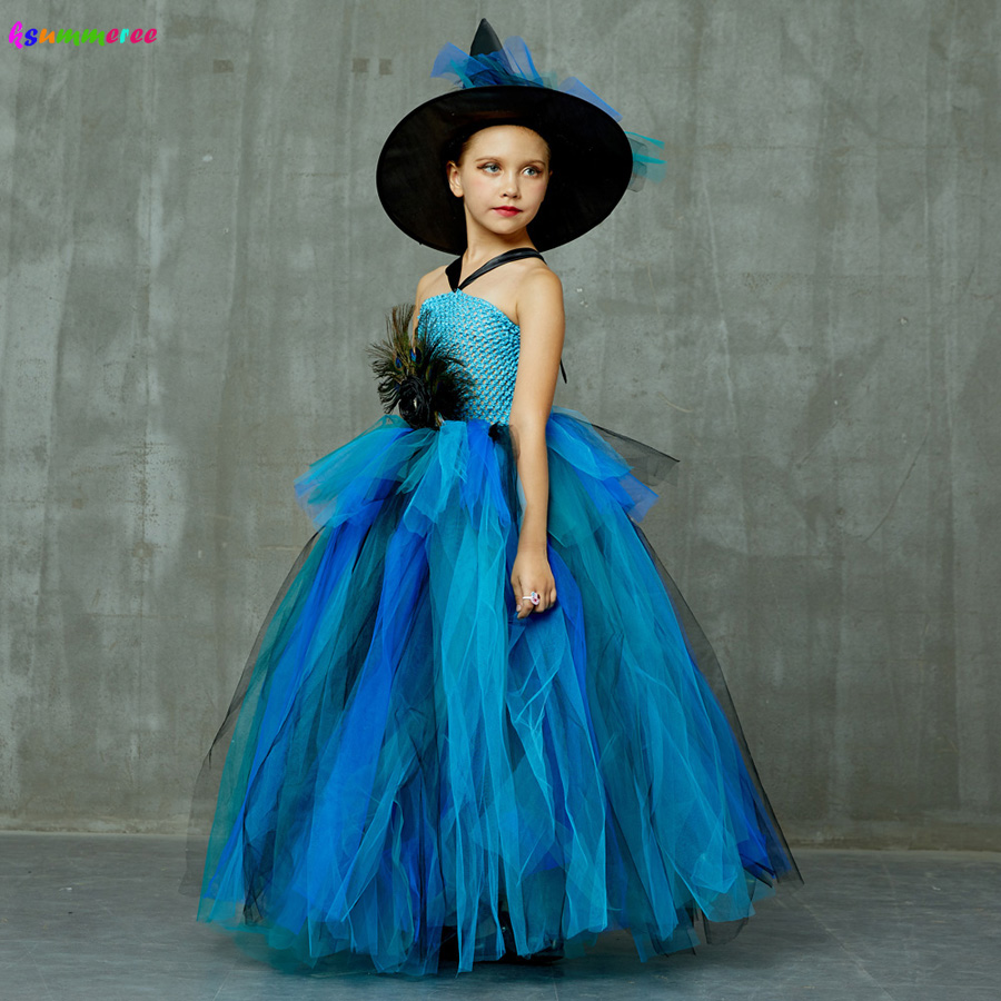 Girls Deluxe Peacock Feather Tutu Dress with Witch Hat Children Fancy Purim Pageant Birthday Party Costume Kids Prom Ball Gown 4