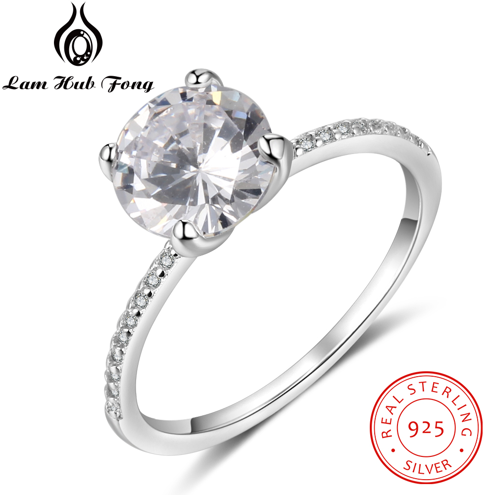 Luxury Solid 925 Sterling Silver Ring For Women Round CZ Finger Ring Wedding Band Engagement Gift Fine Jewelry (Lam Hub Fong)