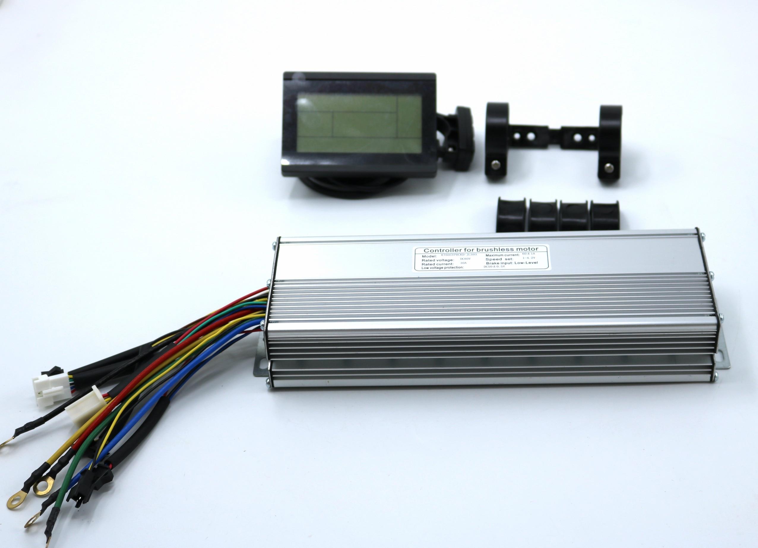60V 2000-2500W 60Amax Brushless DC Motor Controller Ebike LCD3 KUNTENG Sine Wave Controller +KT-LCD3 Display One Set