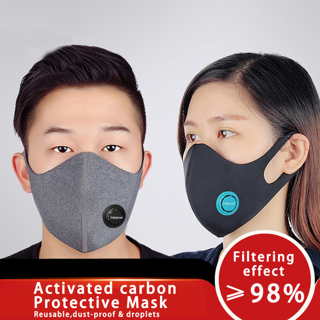 Unisex Dust korean Black Safety Face Mask with N95 Filter Breathable Activated Carbon Respirator Mask for anti dust Anti Flu