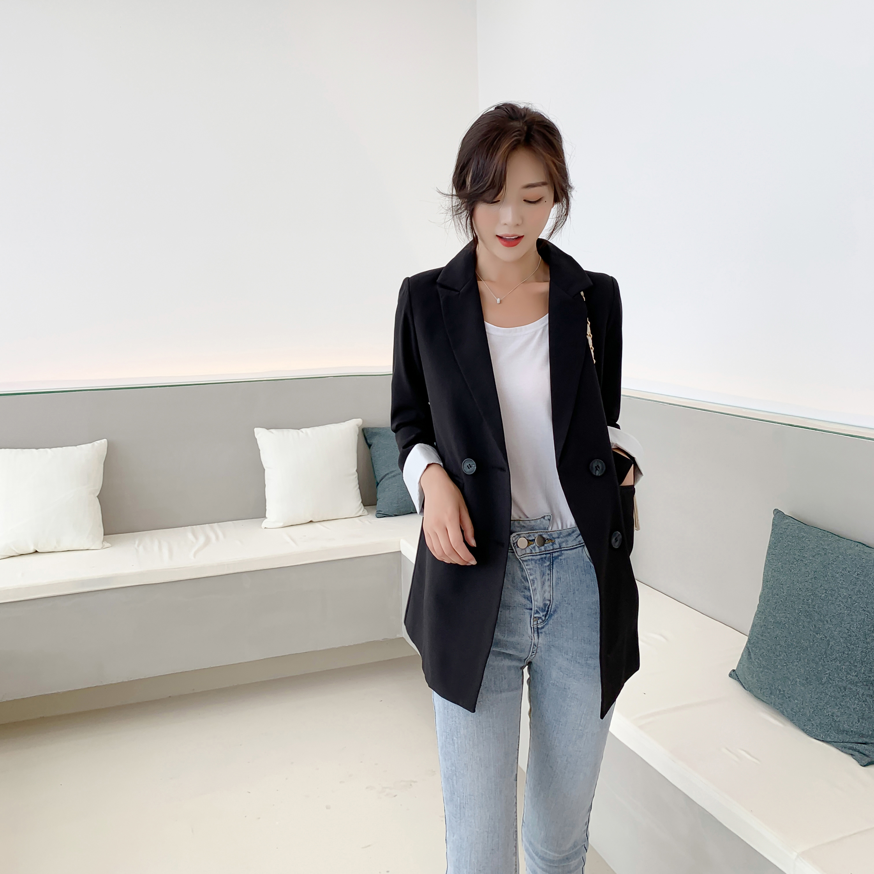 New Small Suit Jacket Female Fashioin Spring Autumn Korean Loose Outwear Casual Wild British Style Women Jacket
