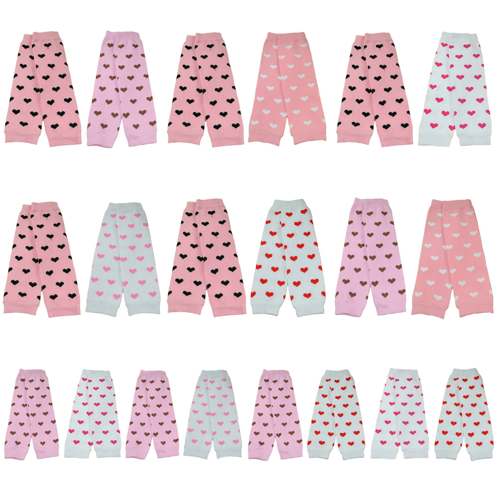 2 PCS Baby Toddler Girl Kid Heart Print Arm Leg Warmers Warm Cotton Socks Tights SCKXW0502A