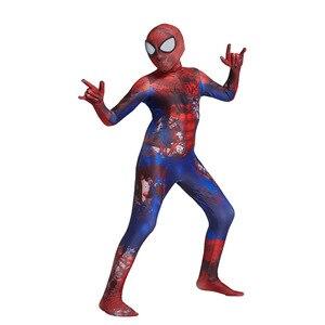 Image 3 - Costume Spider Boy pour enfants, Costume de Cosplay, super héros en Lycra pour garçon, Costume dhalloween Zentai avec masque