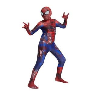 Image 3 - Hot Kids Spider Boy Costume Superhero Lycra Spider boy Cosplay Costume Zentai Halloween Costume With Mask