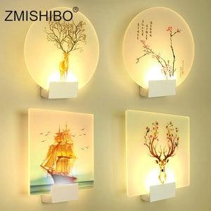 Image 1 - ZMISHIBO الحديثة رومانسية الجدار مصباح السرير الديكور الشمعدان الشمال المنزل LED الإضاءة يمكن التحكم عن بعد تركيبات الإضاءة
