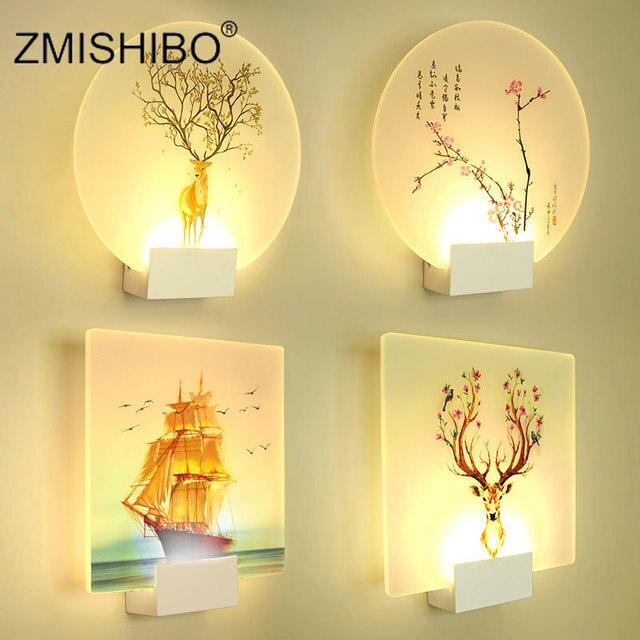 ZMISHIBO الحديثة رومانسية الجدار مصباح السرير الديكور الشمعدان الشمال المنزل LED الإضاءة يمكن التحكم عن بعد تركيبات الإضاءة