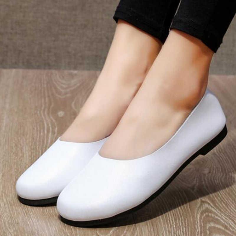 BEYARNE El Yapımı Hakiki Deri Kadın Artı Boyutu Dikiş Düz Moccasins Loafer'lar Bale Daireler Kadın Rahat Yumuşak rahat ayakkabılar