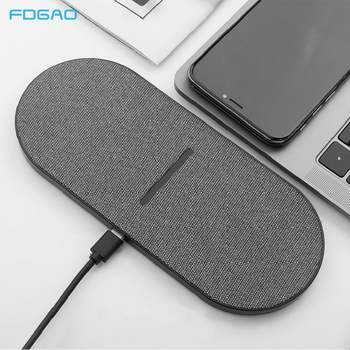 2 in 1 20W Dual Seat Qi Wireless Charger for Samsung S20 S10 Double Fast Charging Pad for IPhone 12