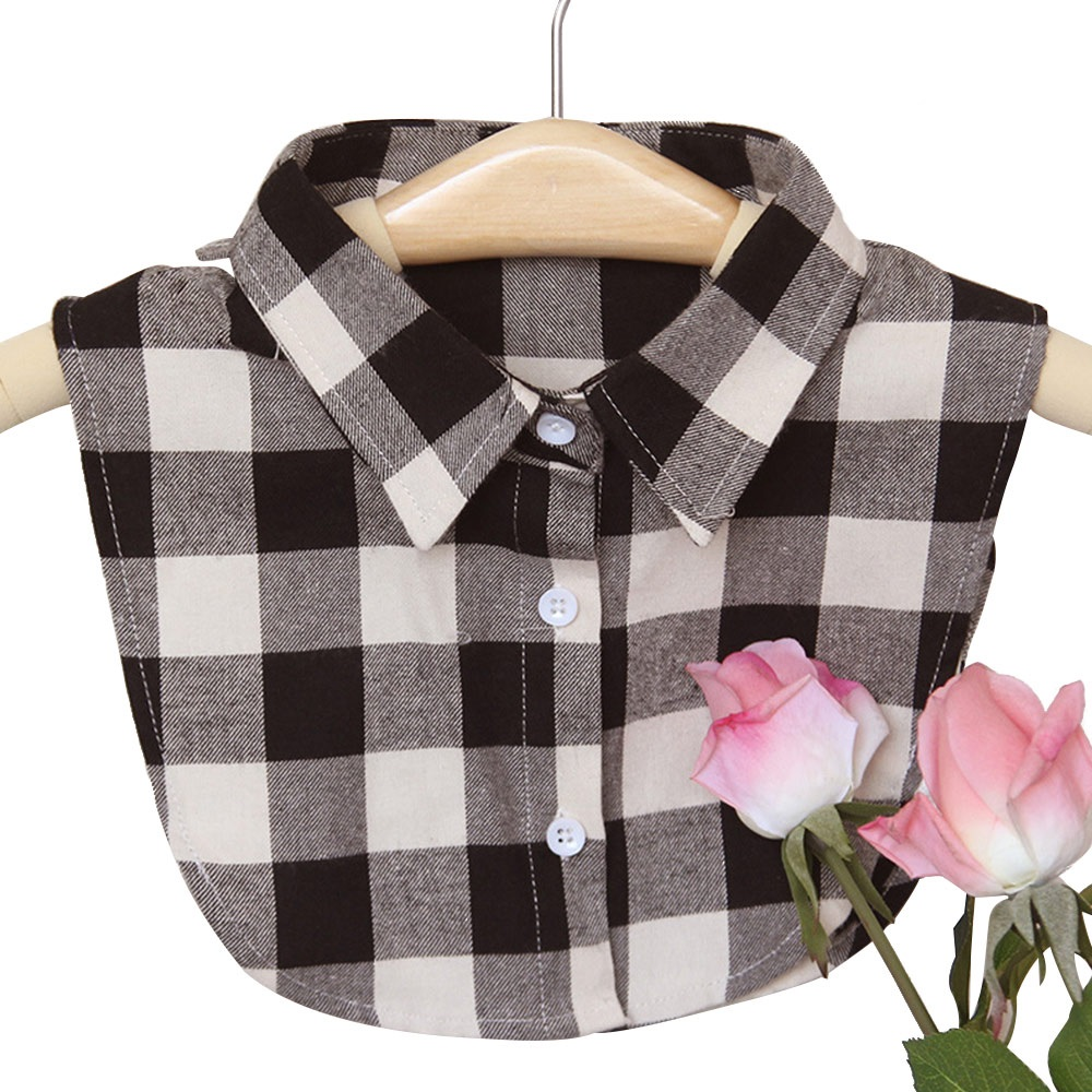 fashion young Ladies  Women Cotton Detachable Lapel lattice Shirt Fake Collar Solid Color Blouse Neckwear Clothing 3