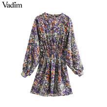 Vadim Vrouwen Elegante Bloemen Patroon Mini Jurk O Hals Lantaarn Mouw Elastische Taille Vrouwelijke Casual Retro Jurken Vestidos QD162