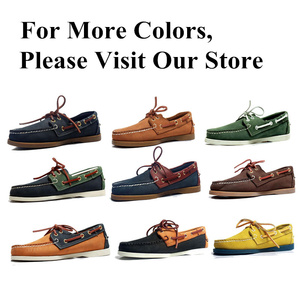 Image 5 - Men Genuine Leather Driving Shoes,New Fashion Docksides Classic Boat Shoe,Brand Design Flats Loafers For Men Women 2019A006