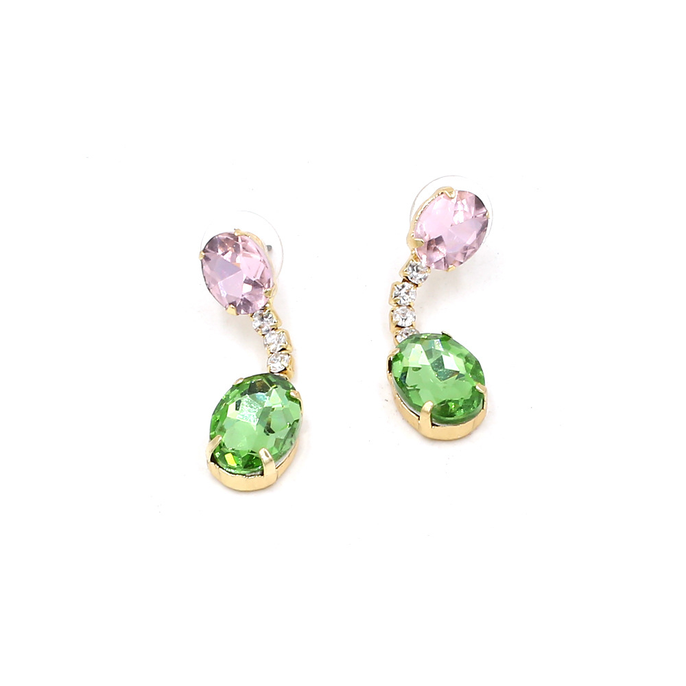 Simple colored stone earrings fashion street photo earrings jewelry ladies' favorite SHANGZHIHUA