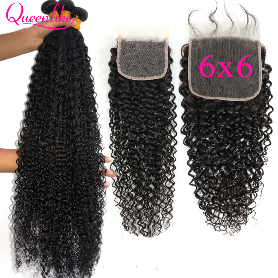 28 30 32 34 36 Malaysian Kinky Curly Hair With 6X6 Closure Hair Weave 3 Human Hair Bundles With Closure 6*6 Closure And Bundles