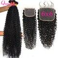 Малайзийские кудрявые вьющиеся волосы 28, 30, 32, 34, 36 с 6X6 закрытыми волосами, 3 пряди человеческих волос с закрытием 6*6, пряди