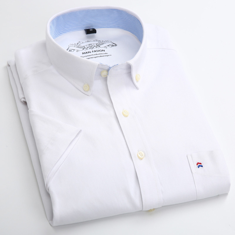 Summer Short Sleeve Men\'s Solid Oxford Casual Shirt Easy Care plain leisure Comfortable regular Fit dress shirts