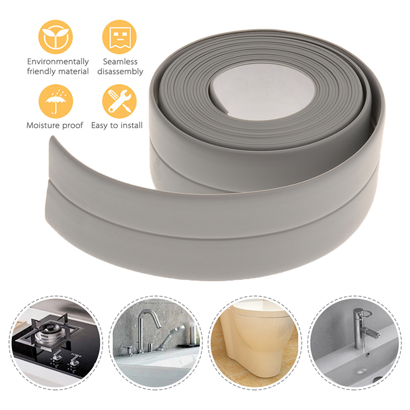 1 Roll PVC Bathroom Shower Sink Bath Sealing Strip Tape Caulk Strip Self Adhesive Waterproof Wall Sticker for Bathroom Kitchen image