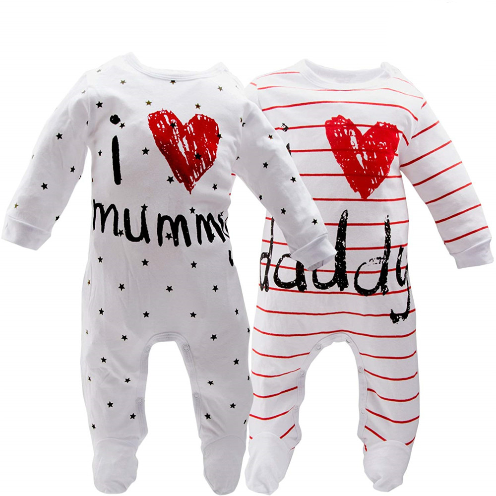 Infant Baby Clothes Girl Boys Long Sleeve I LOVE Daddy Mummy Baby Rompers Babygrow Sleepsuits Baby Romper Bodysuit Outfit  D20