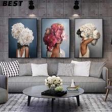 Цветы Перья женские Абстрактная живопись на холсте, настенная живопись художественная печать плакат картина декоративный Рисунок, гостино...
