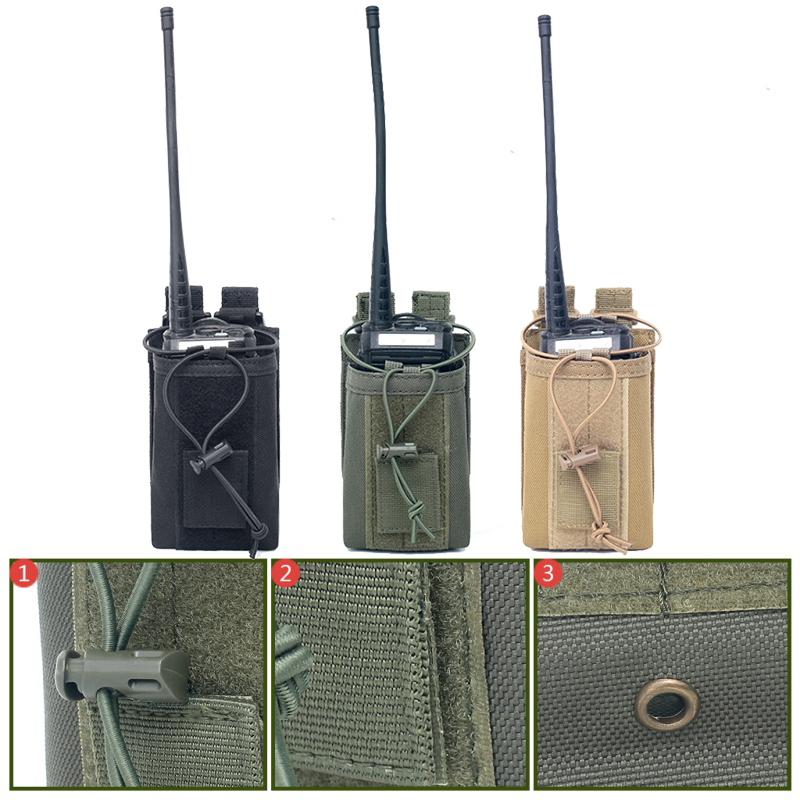 Tactical Molle Walkie-talkie Pouch Interphone Storage Bag Outdoor Nylon Radio Pouch For Military Use Walkie-Talkie Case Holder