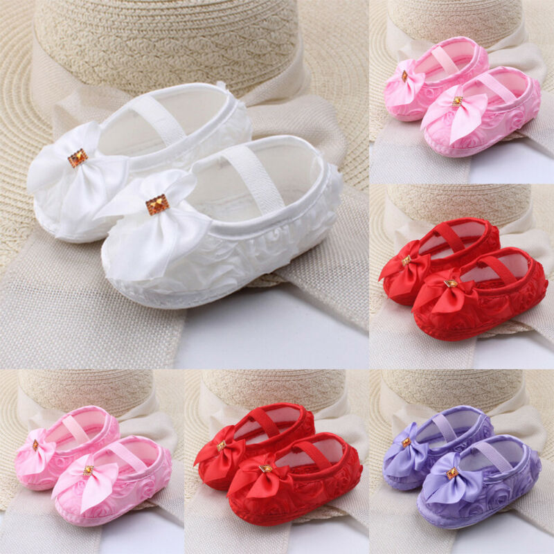 Toddler Baby Girl Crib Shoes Newborn Soft Sole Prewalker Anti-slip Sneaker 0-18M