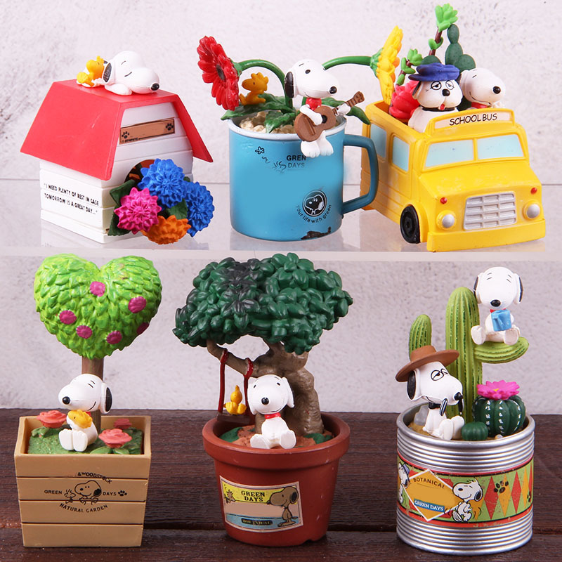 Image 3 - Anime Cartoon Woodstock Happy Terrarium Peanuts Camping Snorkeling Dog PVC Action Figure Collectible Model Toy for Kid 6pcs/setAction & Toy Figures   -