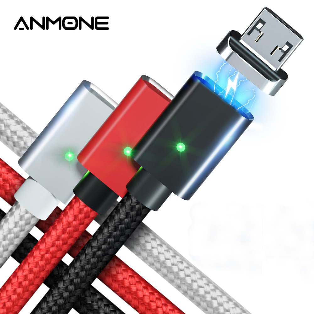 ANMONE Magnetic Cable Quick Charger Micro USB Cable 1m 2m Android Data Cord Magnet Charge for Mobile Phone Fast Charging Wire Mobile Phone Cables     - AliExpress