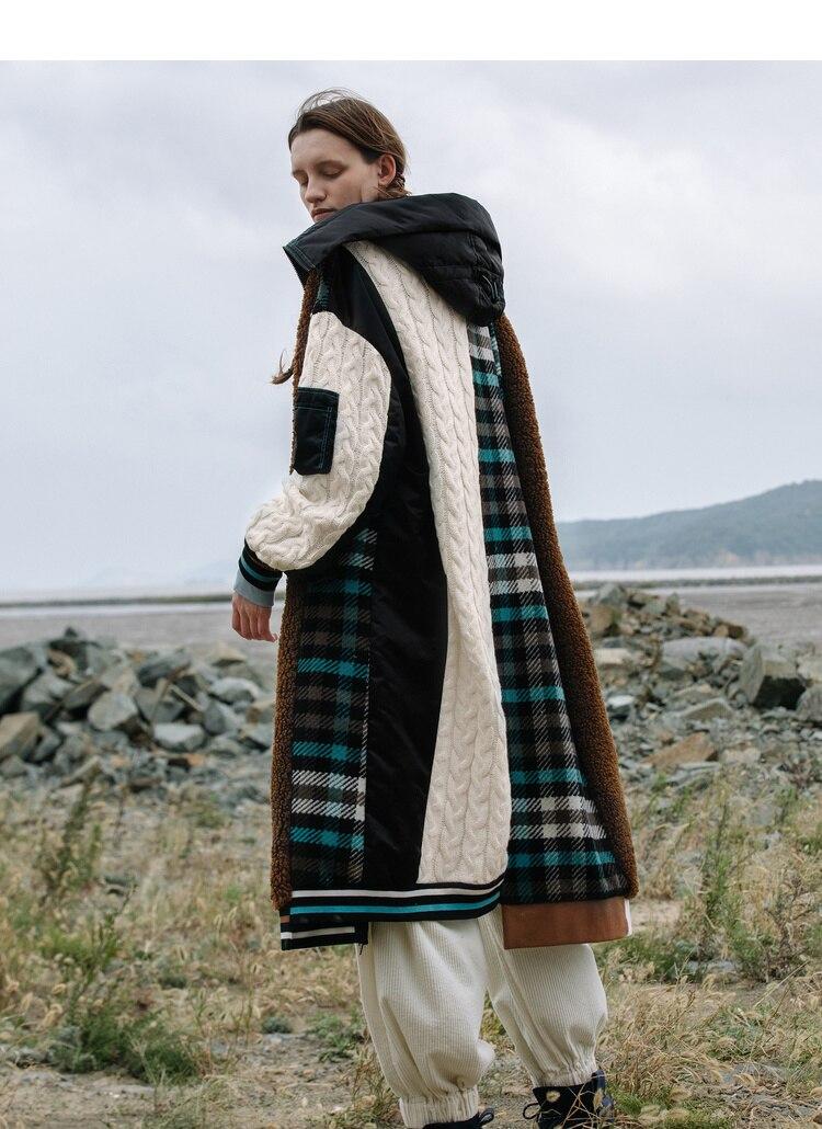 Personalidade Casaco de Lã Casaco de Lã Xadrez Patchwork