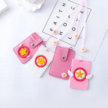 Cartoon Card Captor Cardcaptor Sakura Pink Keychain Key Ring Pendant Holder ID Bus Bank Card Coin PU Leather Charms Trinket Gift(China)