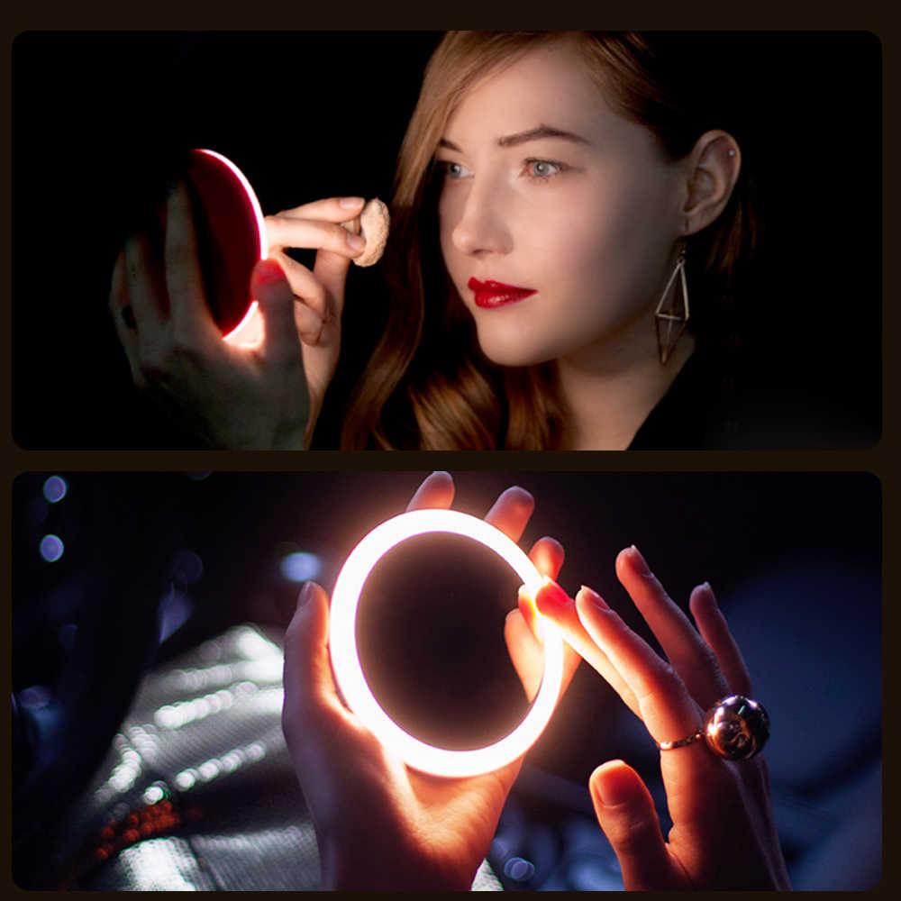 אישה נייד אלחוטי USB מטען מיני עגול איפור מראה 18 מנורת חרוזים LED אור איפור מראות 2 סוגים עבור chooing