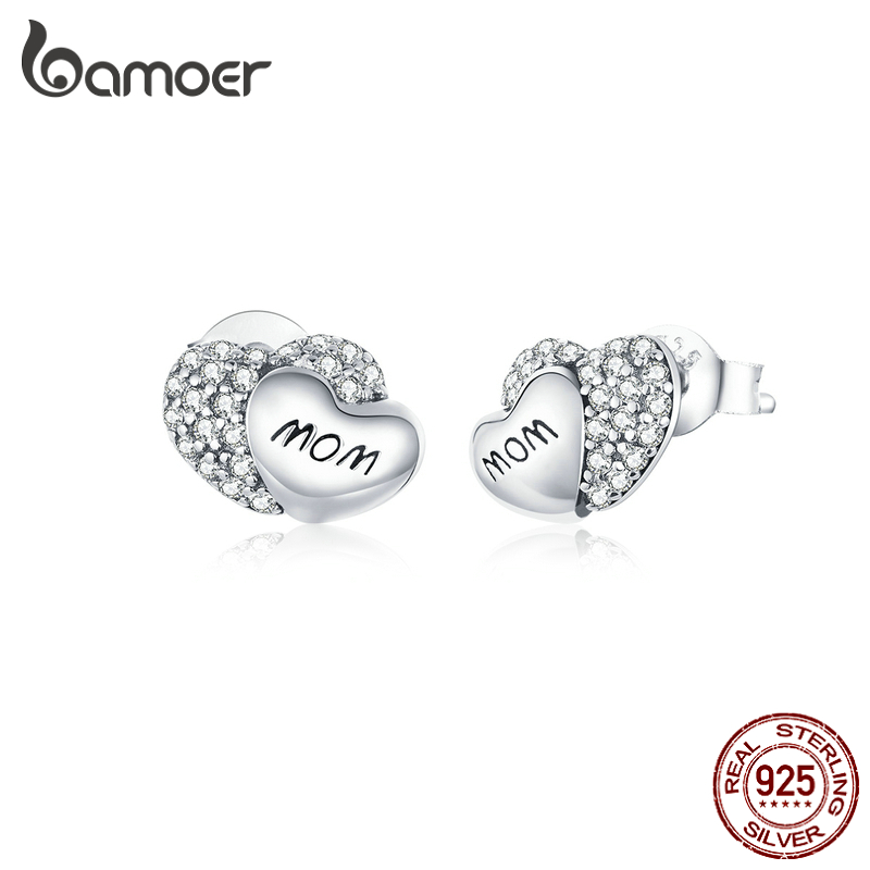 Bamoer 100% Silver 925 Jewelry Double Heart Stud Earrings For Women Sparkling CZ  Mom Mother Gifts Anti-allergy Jewelry SCE879