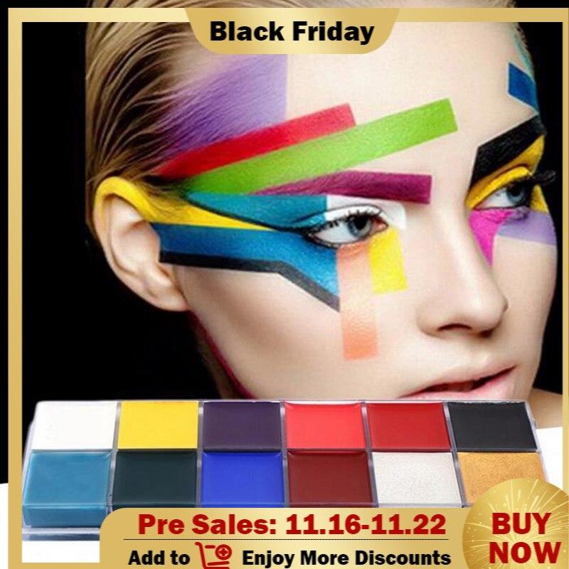 12 cores conjunto halloween maquiagem pintura a oleo rosto corpo pintura pigmento arte tema festa fantasia